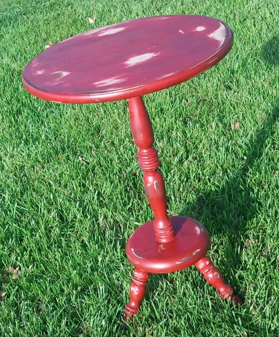 Distressed Red Side table by HayDayLiving on Etsy, $75.00