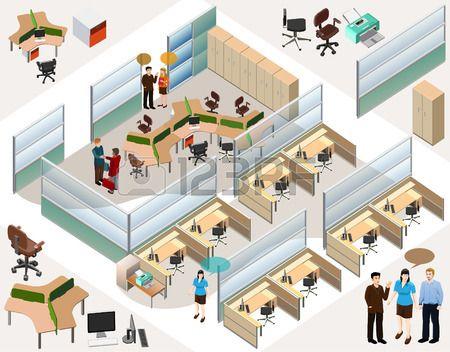 isom�trico oficina con estaci�n de trabajo completa, sala de reuniones, recepciones, lobby, incluir a personas de negocios, la actividad