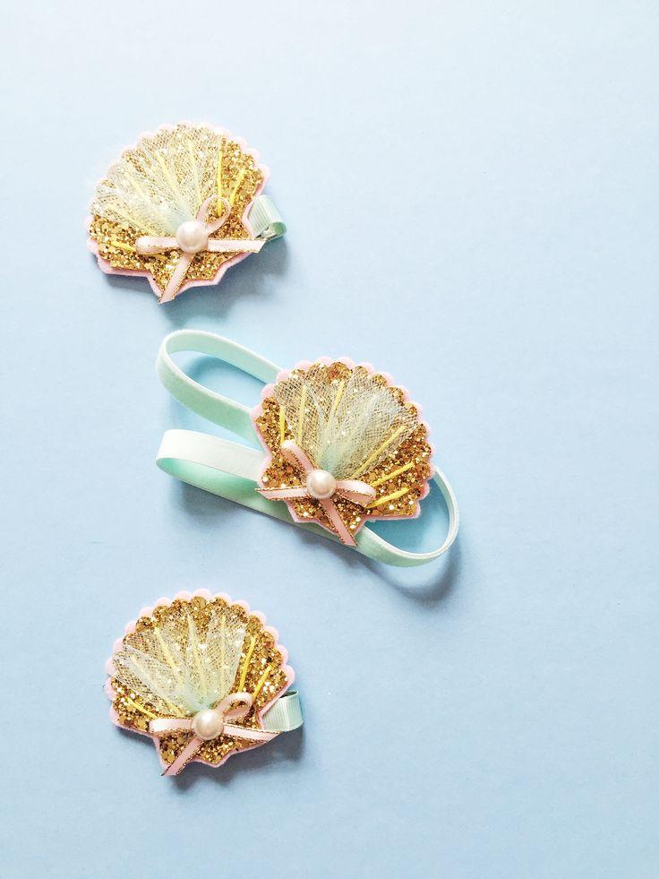 Seashell hair clip (or headband)! www.giddyupandgrow.etsy.com