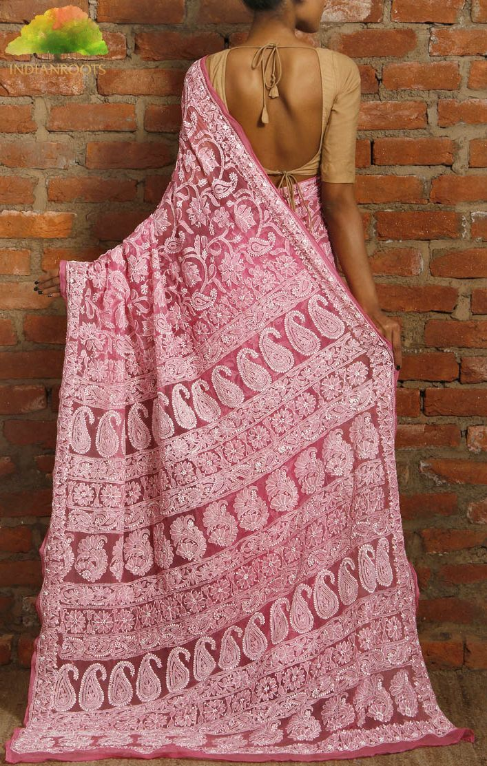 Pink chiffon saree with chikankari work India Roots