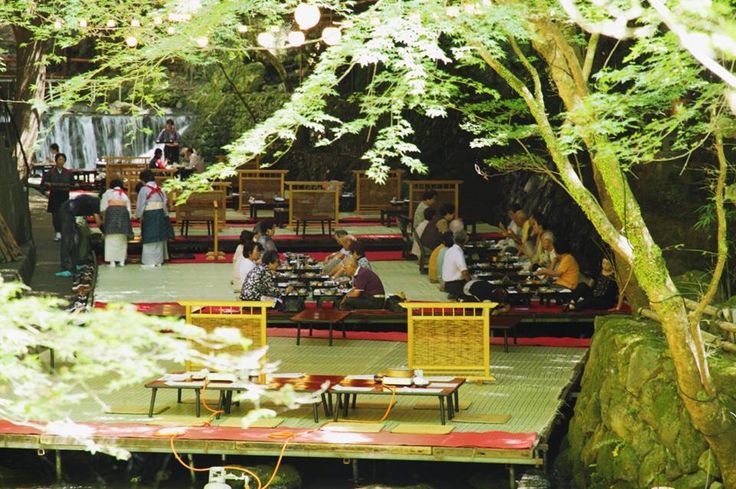"Kyoto's Kibune ""Kawadoko"" , wooden platform open restaurant besides Kibune River northern Kyoto"