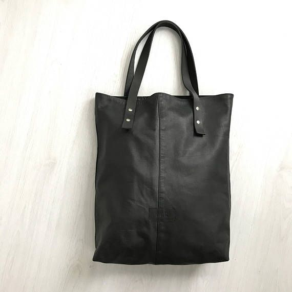 Morbida pelle nera tote bag borsa in pelle repurposed