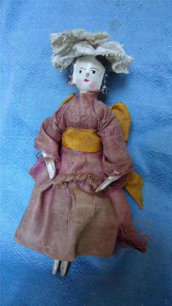 Wooden Knitting Doll : Antique quot wooden doll jointed knees elbows stick legs