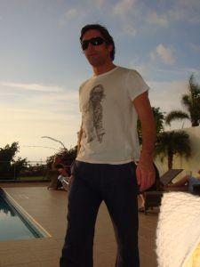 Leslie Benzies by pool