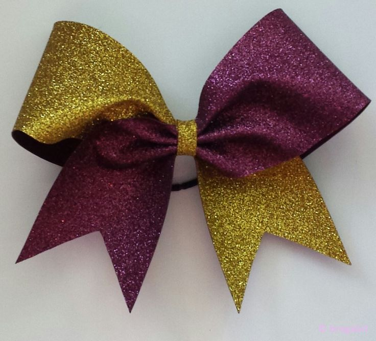 Two color glitter bow. Gold and maroon glitter cheer bow