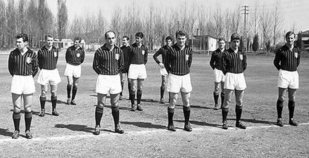 """Front row : Giancarlo Danova (AC Milan, 1957-1960, 60 apps, 30 goals + 1961-1962, 17 apps, 8 goals), Dino Sani (AC Milan, 1961–1964, 63 apps, 14 goals), José João Altafini (AC Milan, 1958–1965, 205 apps, 120 goals), Giovanni """"Gianni"""" Rivera (AC Milan, 1960–1979, 501 apps, 122 goals) and Paolo Barison (AC Milan, 1960–1963, 57 apps, 14 goals)   Middle row : Giovanni Trapattoni (AC Milan, 1959–1971, 274 apps, 3 goals), Cesare Maldini (AC Milan, 1954-1966, 347 apps, 3 goals) and Ambrogio…"""