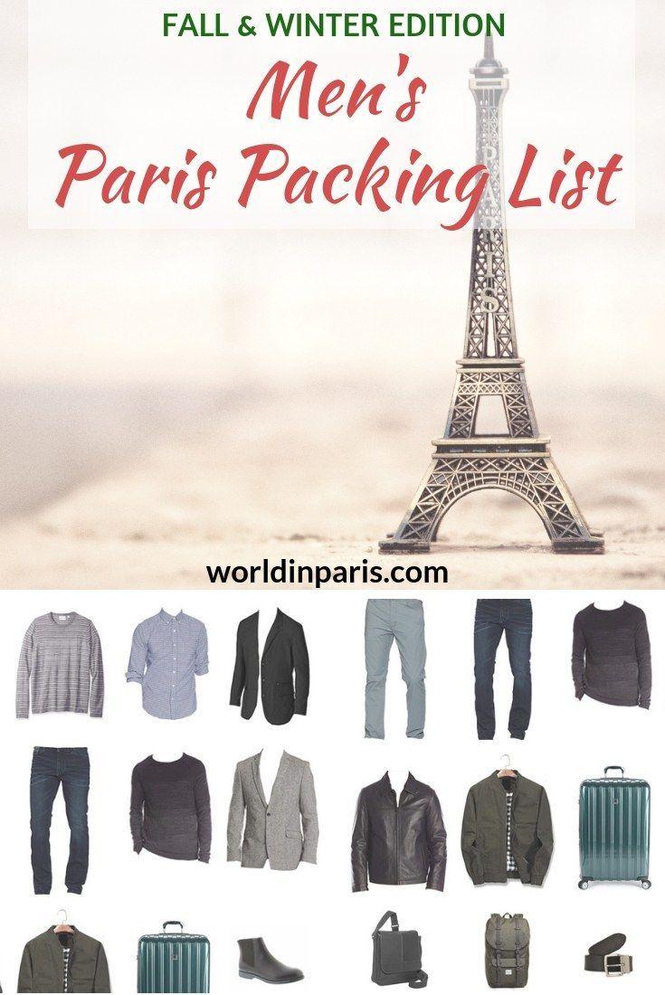 Paris Packing List For Men Fall Winter 2020 2021 World In Paris Winter Travel Packing Packing List For Travel Paris Packing List