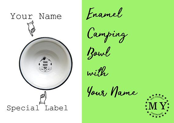 Camping Bowl with Your Name / Enamel Bowl / Personalized Bowl