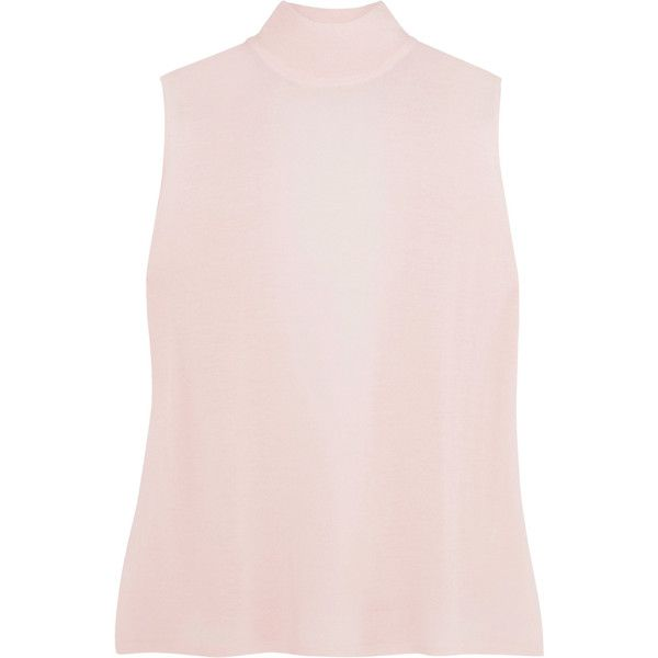Dion Lee Open-back wool turtleneck top (£310) via Polyvore featuring tops, baby pink, drapey top, turtleneck tops, wool turtleneck, pink turtleneck and open back tops