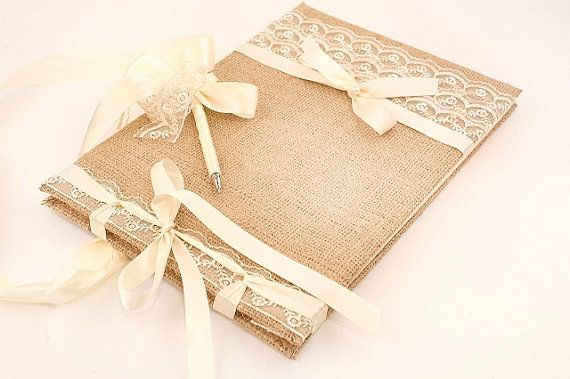 Wedding Guest Book Traditional Retro Rustic by LenaWeddings,