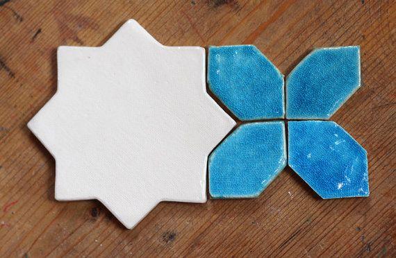 Kashan    off-white / aquamarine tile by Artisanknobs on Etsy