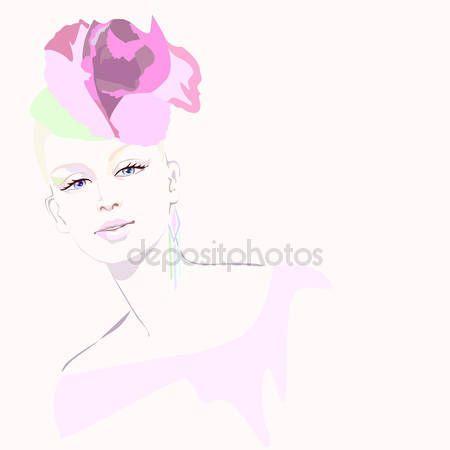 Скачать - Абстрактная акварель портрет женщина, шляпа образный розовых роз, красота логотип, изолированный белый фон — стоковая иллюстрация #98806794
