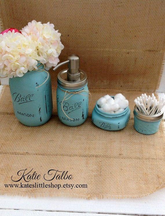 Mason jar bathroom kit bathroom blue farmhouse decor for Mason jar bathroom ideas