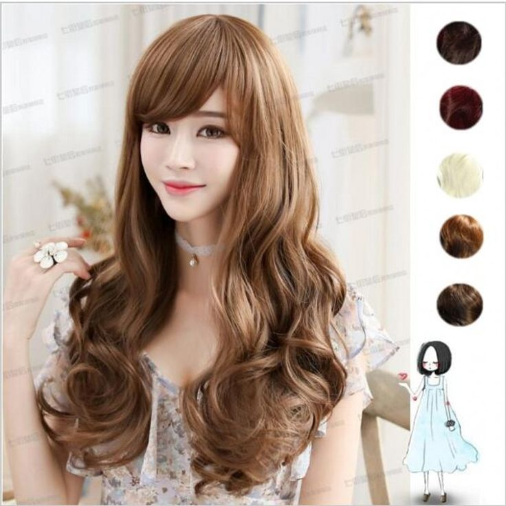 Sexy Women Long Wavy Hair With Bangs black brown synthetic wigs Human Full Wigs Heat Resisitant Fiber fibre hair wig peluca