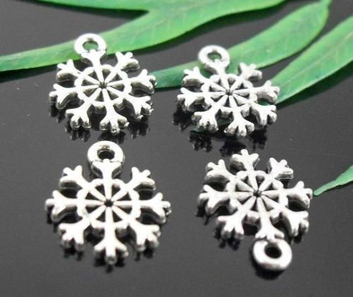 Bulk Charms  50  Snowflake Charms Double sided by FindingsKeepers