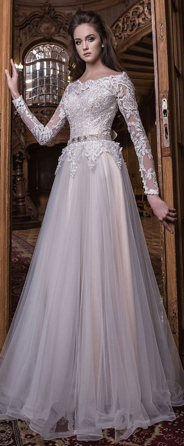 Elegant Tulle Off-the-shoulder Neckline Natural Waistline A-line Wedding Dress With Lace Appliques & Beadings