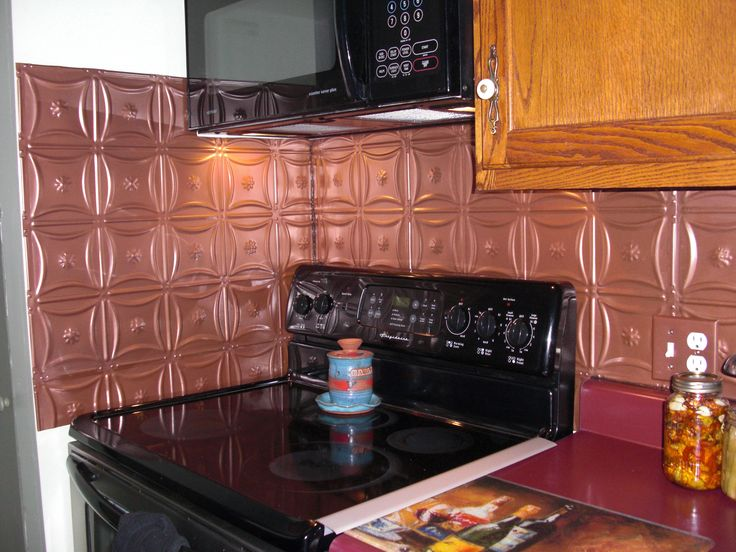 Powder Coated Copper Backsplash Tin Panels Water Heat And Rust Resistant Cleans