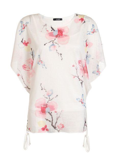 Cream Floral Print Batwing Top