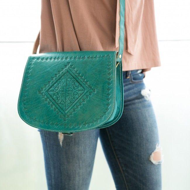Engraved Messenger Bag - Turquoise