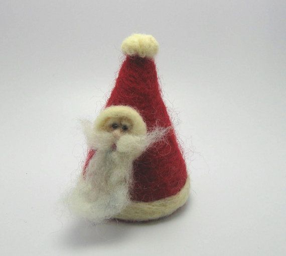 Primitive Santa    Needle Felted Ornament by catzmeeeow on Etsy, $15.00
