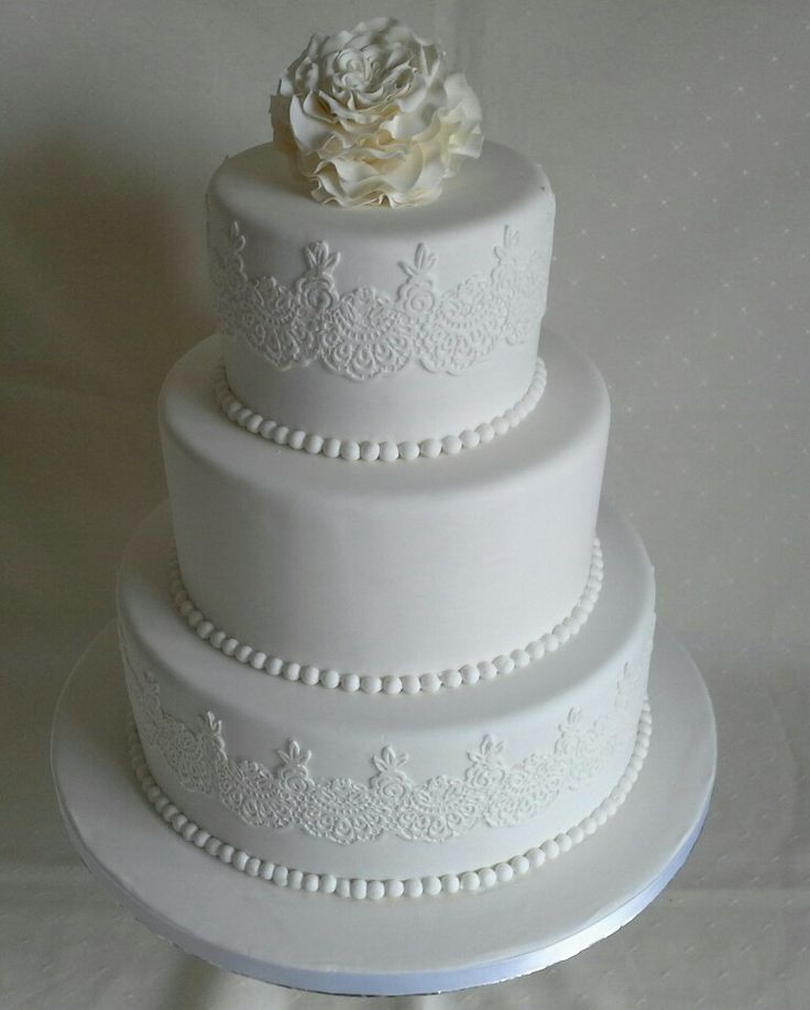 David Austin icing #rose topper #lace n pearls #wedding cake all white & all edible created by MJ www.mjscakes.co.nz in sunny Hawkes Bay NZ delivered to Craggy Range Winery