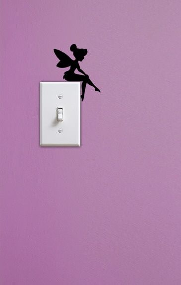 Tinkerbell painted on the wall above a light switch...LOVE this idea! Get an all glitter light switch cover and this would be perfection