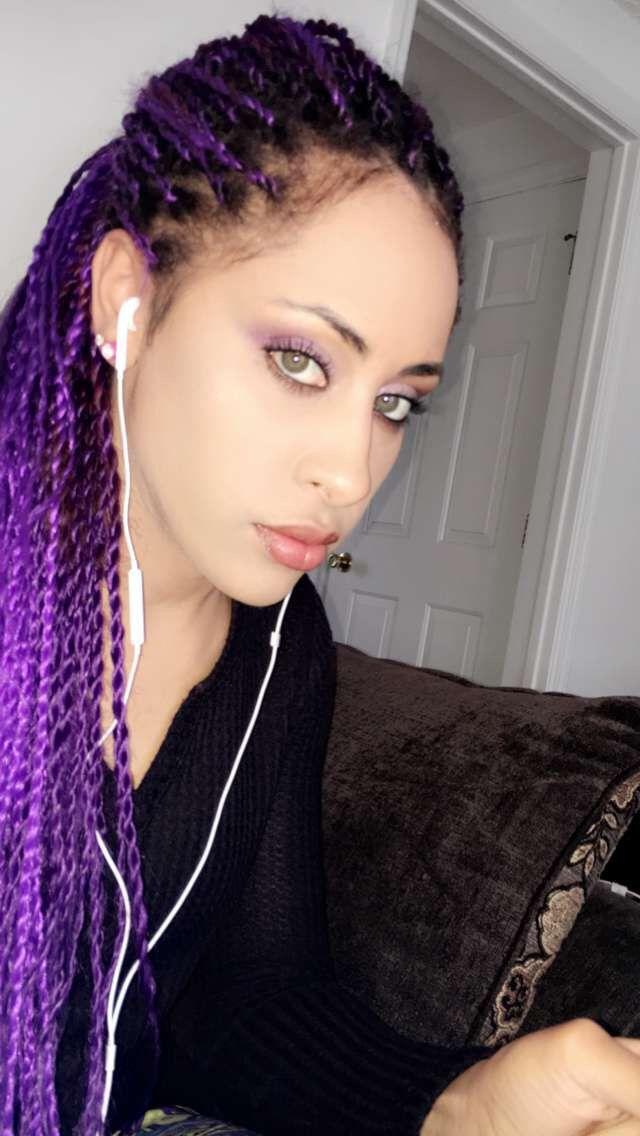 Purple Senegalese twists / braids