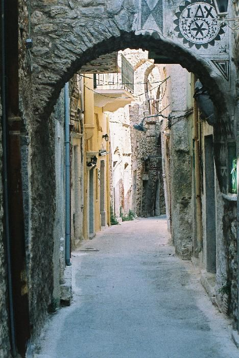 Alleys of Pyrgi village in Chios island, Greece