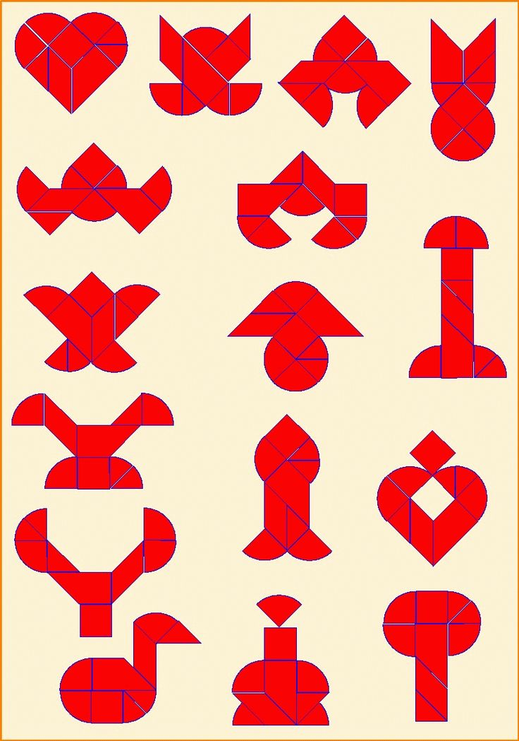 Puzzelen met ronde en vierkante tangrams - Gebroken hart - Basisiguren