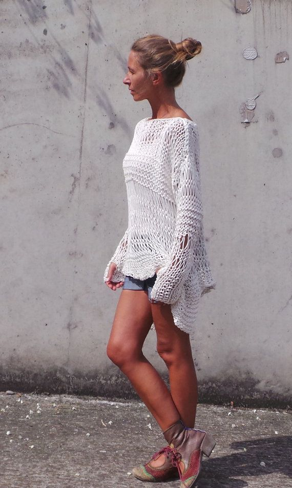 Women's white sweater / ivory sweater Cotton knit Sweater boho grunge style sweater - by ileaiye,