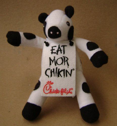 Chick-Fil-A Cow Mascot Stuffed Animal Plush Toy - 6 inches - Cow is wearing a sign that says Eat Mor Chikin