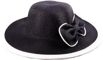 Wide Brim Straw Hat With Bow