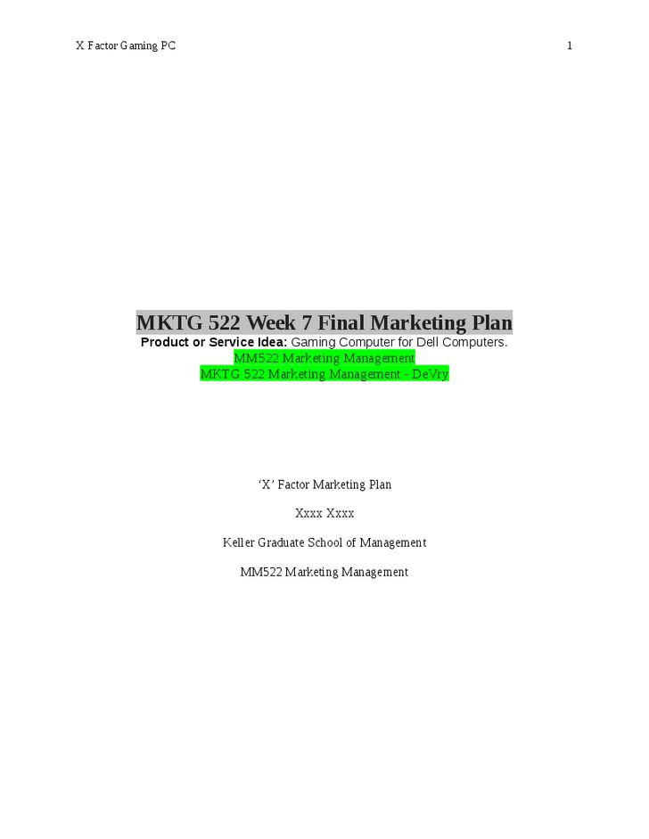 MKTG 522 Full Week 1 (Course Project & Discussions)