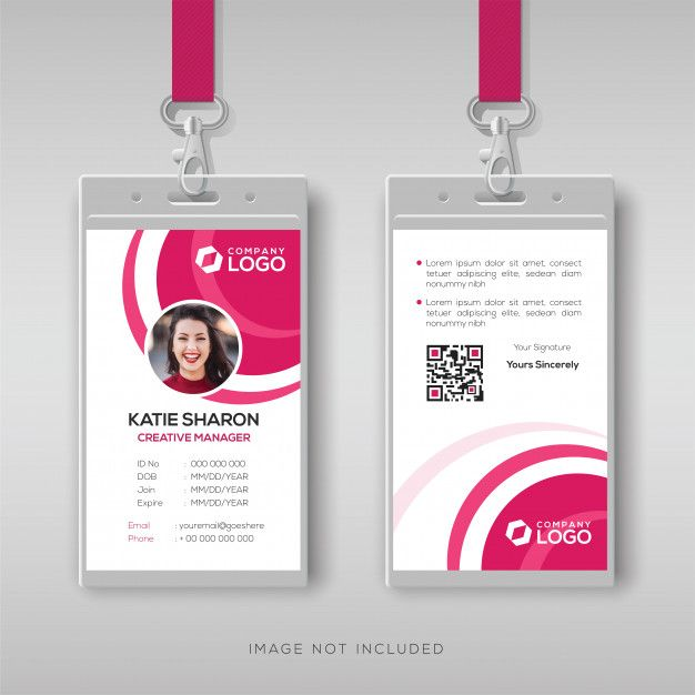 Stylish Id Card Template With Pink Details Graphic Design Business Card Id Card Template Identity Card Design