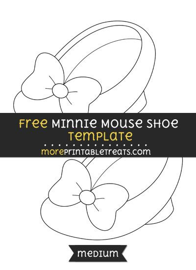 Free Minnie Mouse Shoe Template - Medium | Shapes and Templates ...