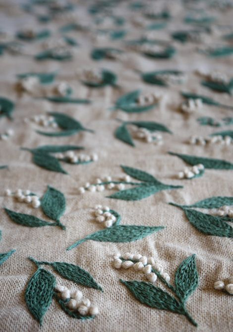 Lilly of the Valley Embroide - Yumiko Higuchi Embroidery Art, Japan
