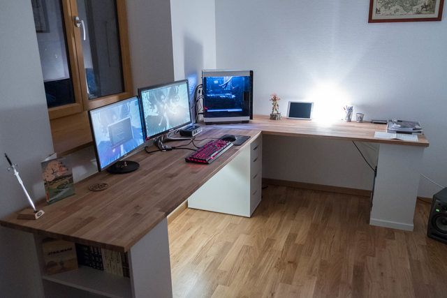 Moving to my first flat and setting a cosy work/gaming space (night&day shots) - Imgur