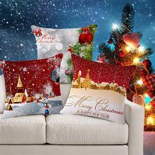 Coussins décoratifs couvre de noël coussin couverture Shabby Chic Home Decor rouge coussin taie d'oreiller couverture pour canapé de siège de voiture 822()