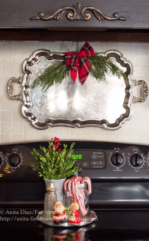 Far Above Rubies-How I Found My Style Sundays- Christmas Edition- From My Front Porch To Yours - I love the plate on the stove filled with Christmas goodies!