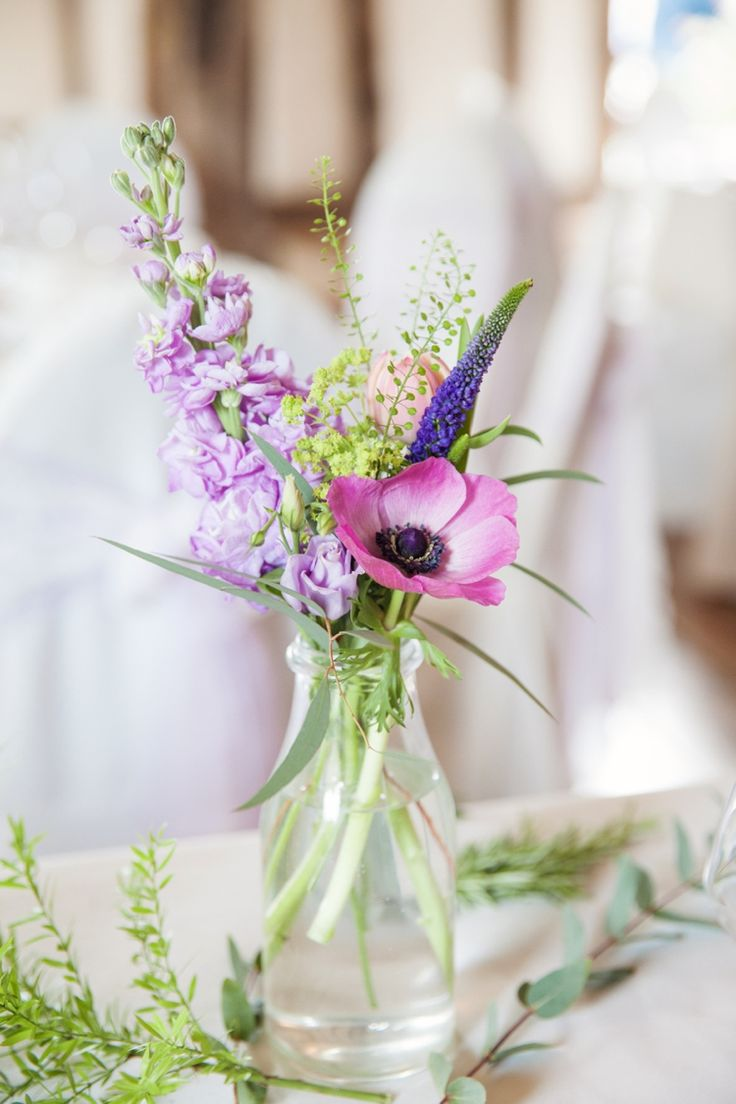 Milk Bottle Flowers Purple Lilac Fresh Spring Country Wedding http://kerryannduffy.com/