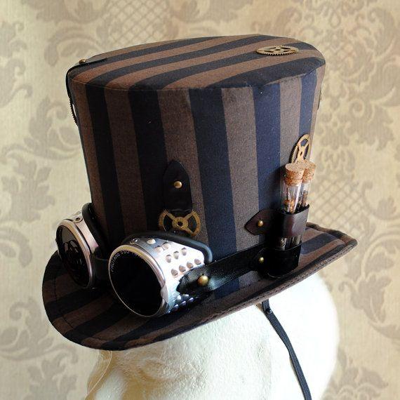 Steampunk Hut mit Schutzbrillen, Damen Neo-viktorianischen gestreift Zylinder in schwarz und braun-Custom-Made to Order
