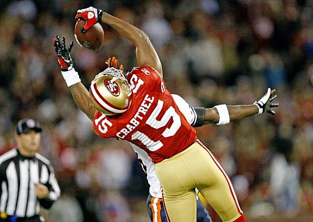 The 49ers number 15 Michael Crabtree making an amazing one-handed catch.