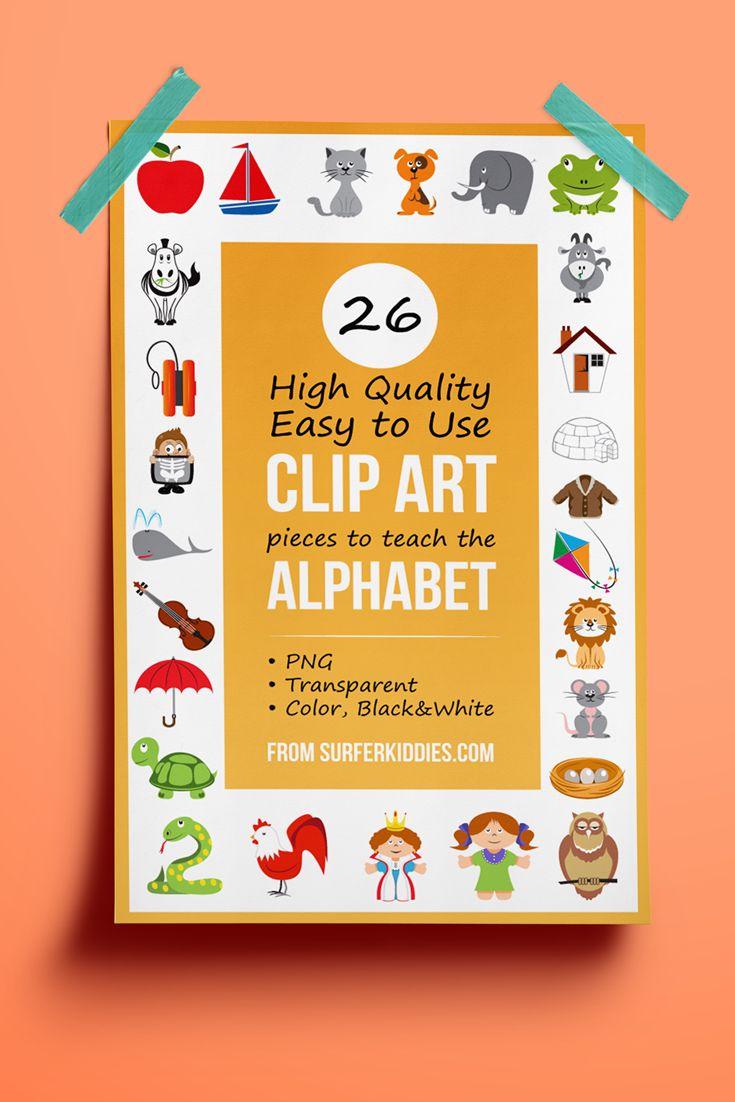 Full Set Alphabet Clip Art to teach English Language.   PreK, Kindergarten, 1st, 2nd, 3rd, 4th, Homeschool.  Reading, Back to School, Phonics