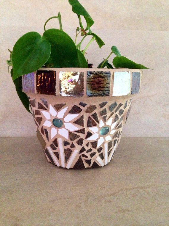 Mosaic planter, fall flower pot, outdoor planter, handmade planter, terracotta…