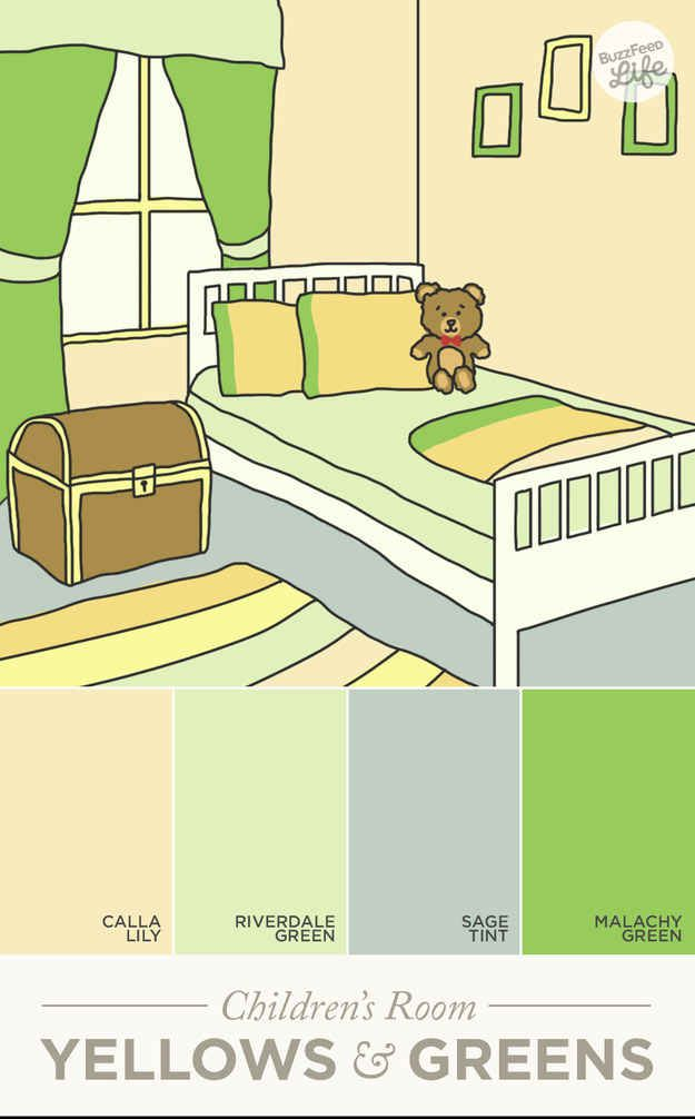 Yellows and greens in a child's room foster healthy emotional growth.