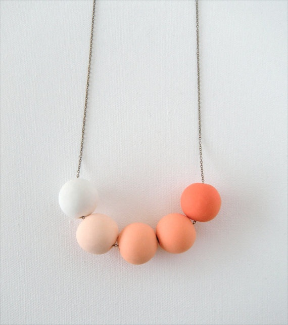 Shades of Apricot...Beaded Clay Necklace