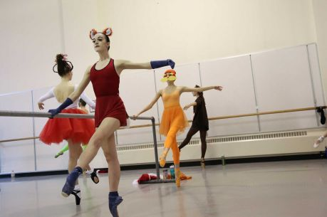 "Abby Callahan, 19, dresses up as the ""Fox in Sox"" during dance practice. Students of the Pacific Northwest Ballet School's Professional Division abandoned their strict dress codes to dress up in the spirit of Halloween for their morning class on Friday, Oct. 31, 2014 in Seattle, WA."