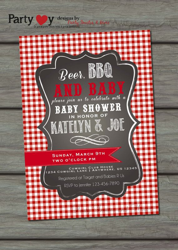 Beer BBQ and Baby Shower Coed Baby Shower by PartyInvitesAndMore, $10.00