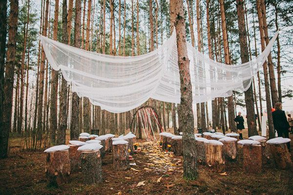 This is exactly what I want for ceremony and reception. Put a clear plastic tarp above the fabric one for weather protection.