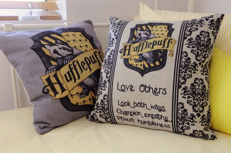 Hufflepuff bedroom design ideas - Harry Potter Hogwarts Hufflepuff Gryffindor Slytherin Ravenclaw Bed Cushion Yellow